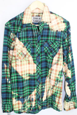 Vintage Western Cut Navy Blue, Emerald Green and Cream Flannel Size Small