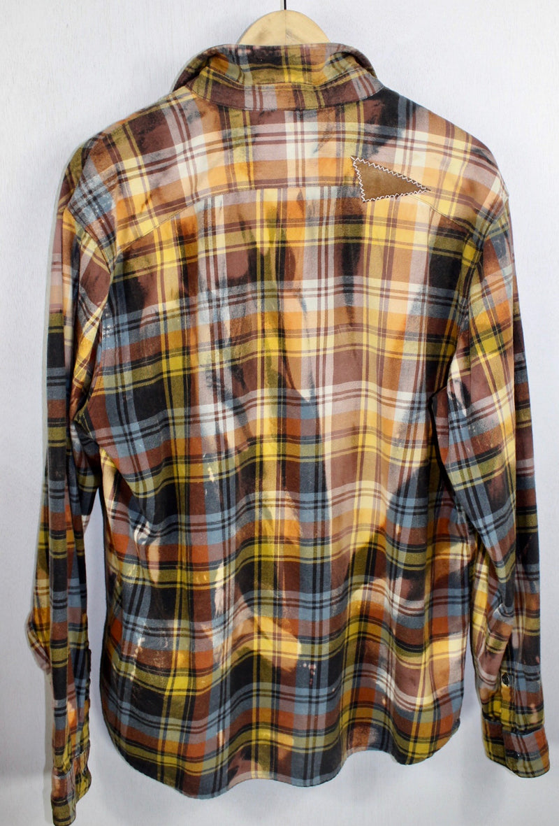 Vintage Steel Blue, Gold and Brown Flannel Size Large