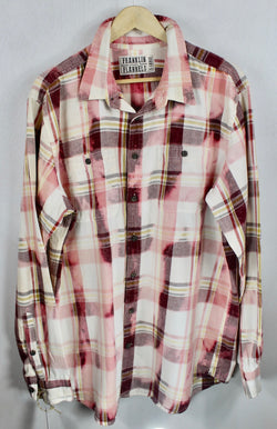 Vintage Pink, Burgundy and White Flannel Size XL