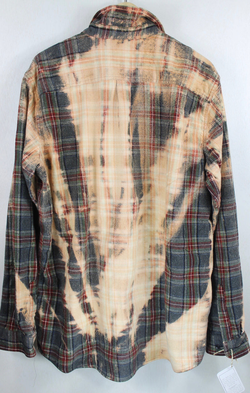 Vintage Grey, Dark Red, Black and Peach Flannel Size XL Tall