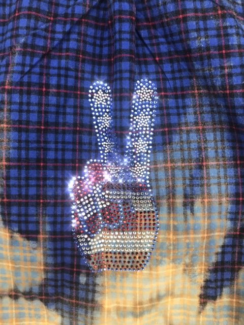 Fanciful Franklin Flannels with Patriotic Peace Sign Size Large