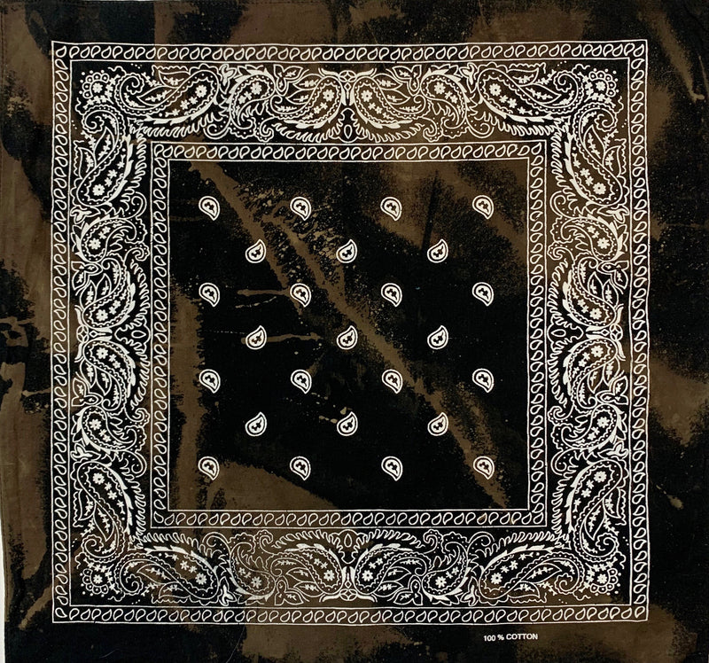 Black, Chocolate Brown & White Reverse Dyed Bandana