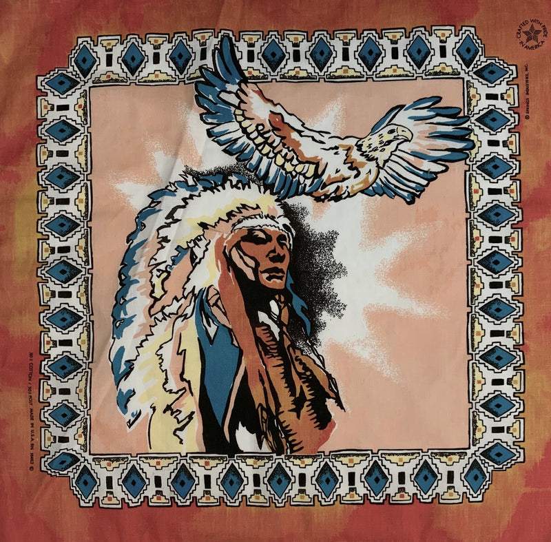 Orange and Blue Indian wiht Eagle Bandana
