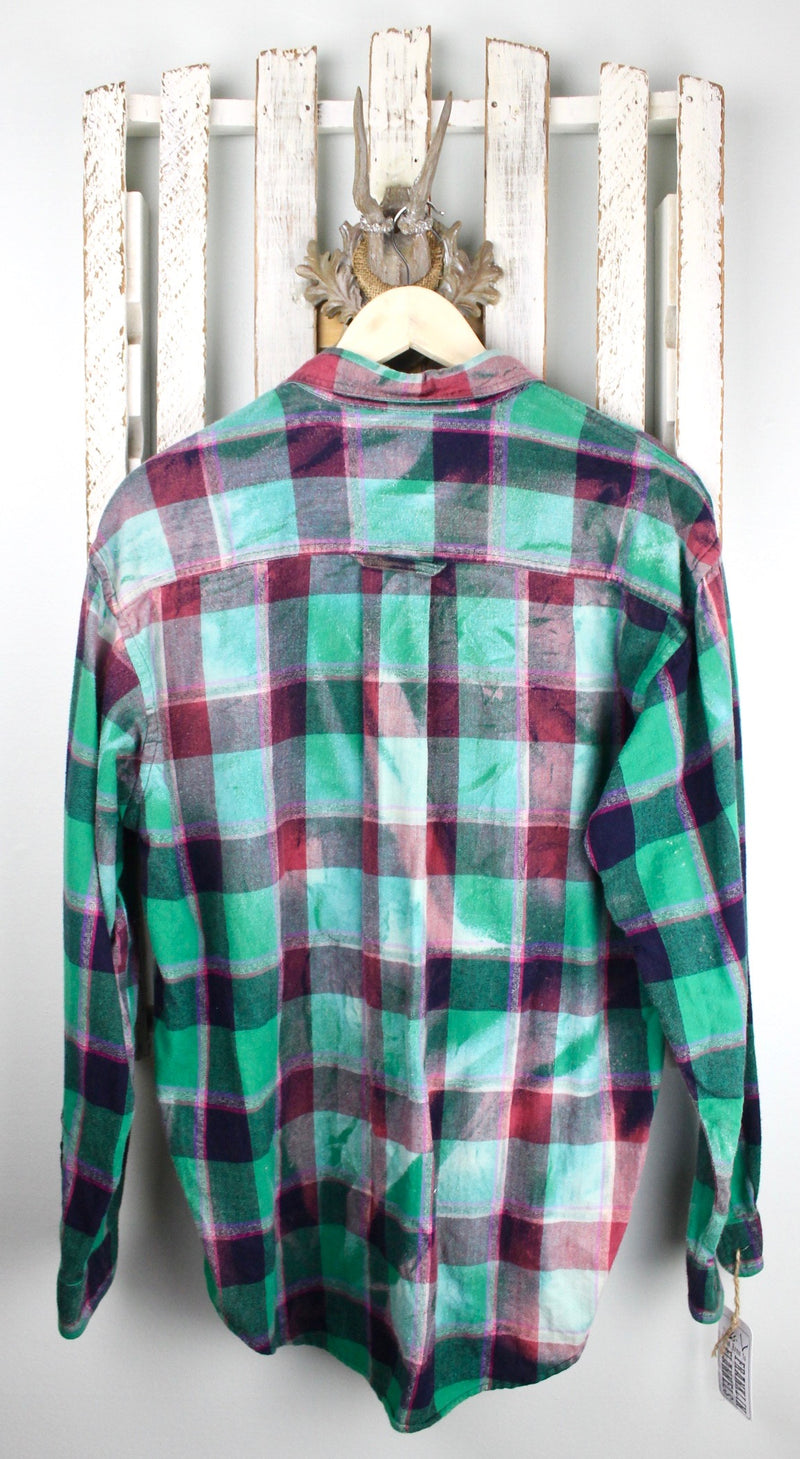 Vintage Green & Red Flannel with Black Suede Pocket Size Large