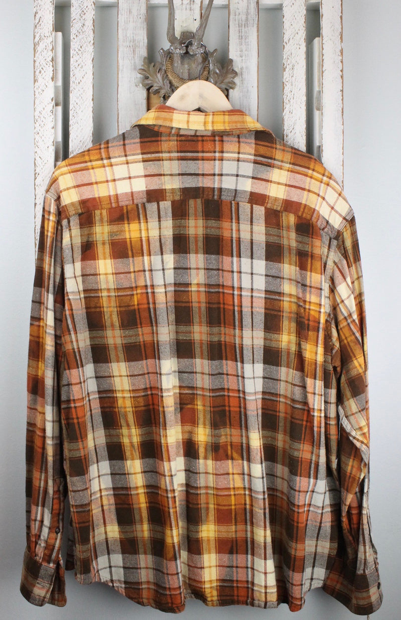 Vintage Brown, Gold, Orange and White Flannel with Suede Size Large