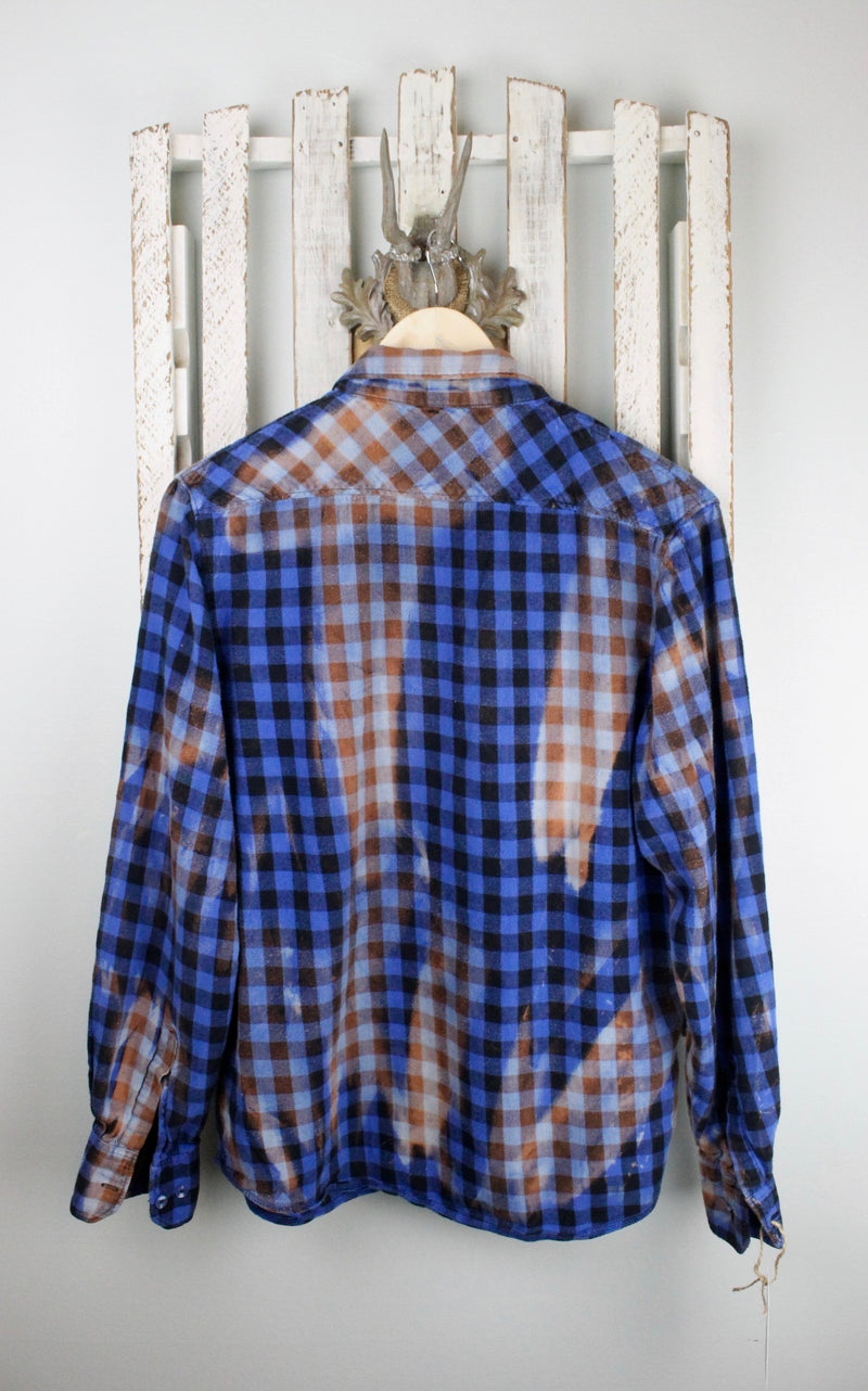 Vintage Blue, Black and Rust Flannel Size Small