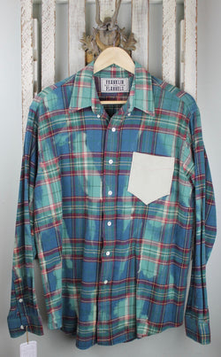 Vintage Teal Blue, Green and Red Flannel with Suede