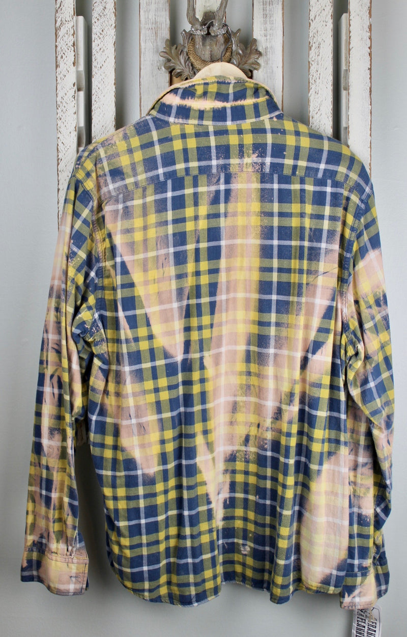 Leather and Lace Yellow and Blue Flannel Size Large