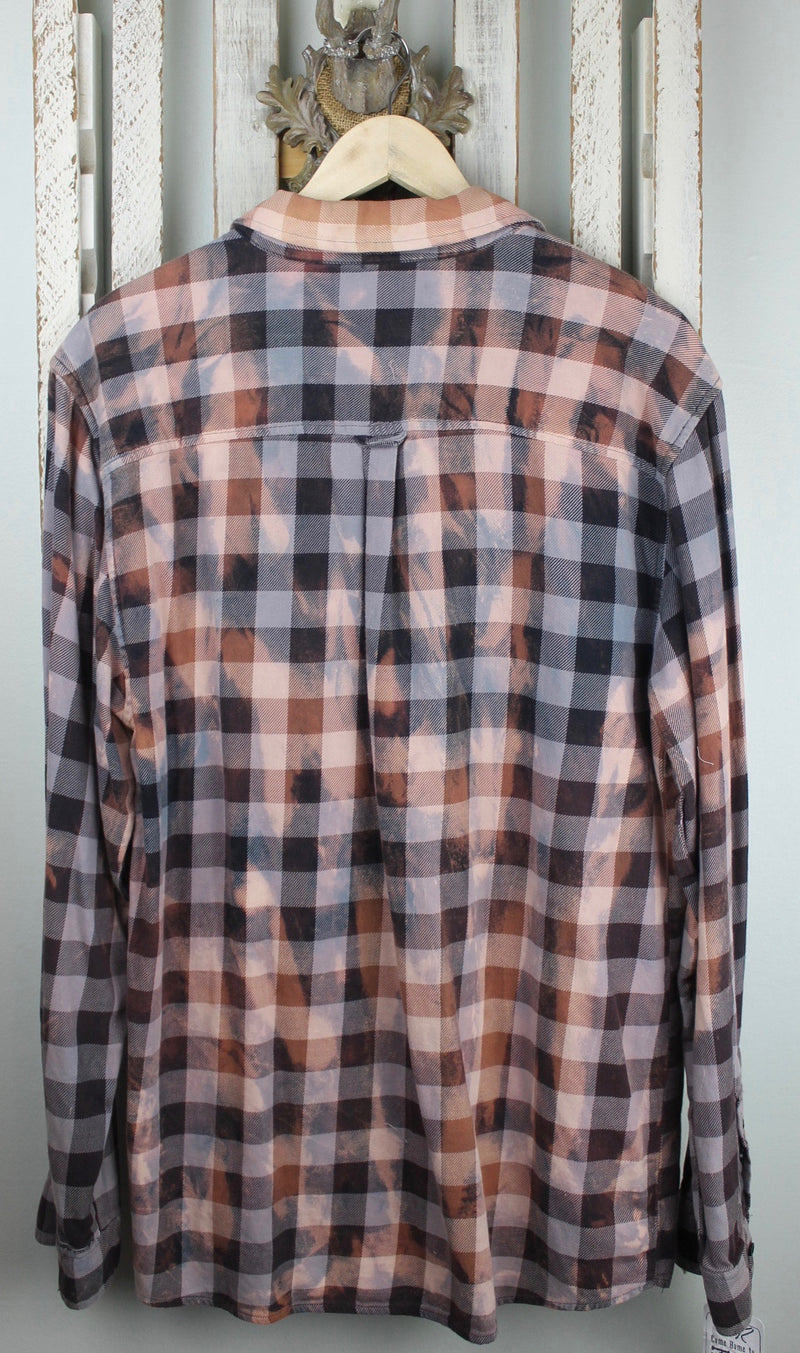 Vintage Dove Grey and Dusty Rose Flannel Size XL