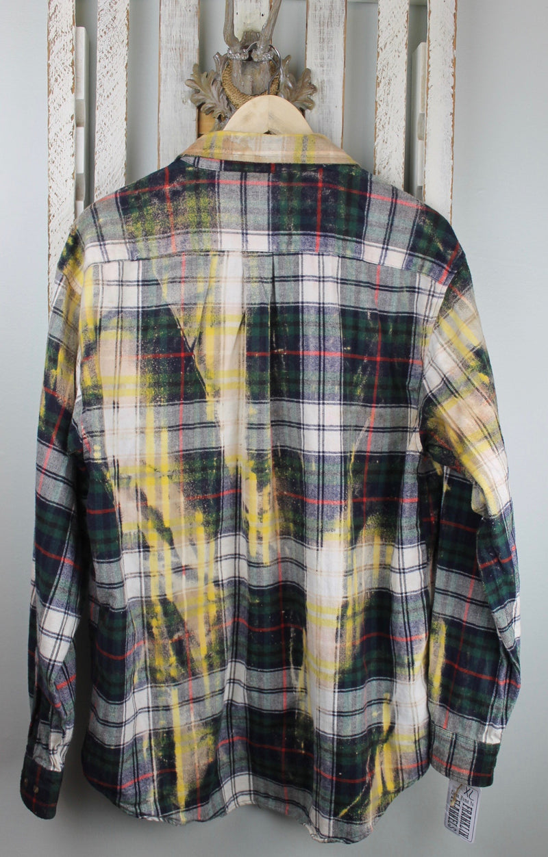 Vintage Forest Green, Red, Yellow and White Flannel Size XL