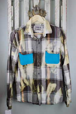 Vintage Brown, Pale Yellow, Cream and Turquoise Flannel with Suede Size Small