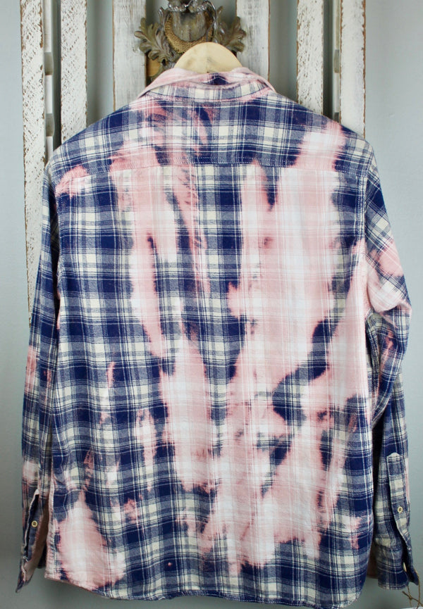 Vintage Navy Blue, Pink and White Flannel with Suede Size Medium