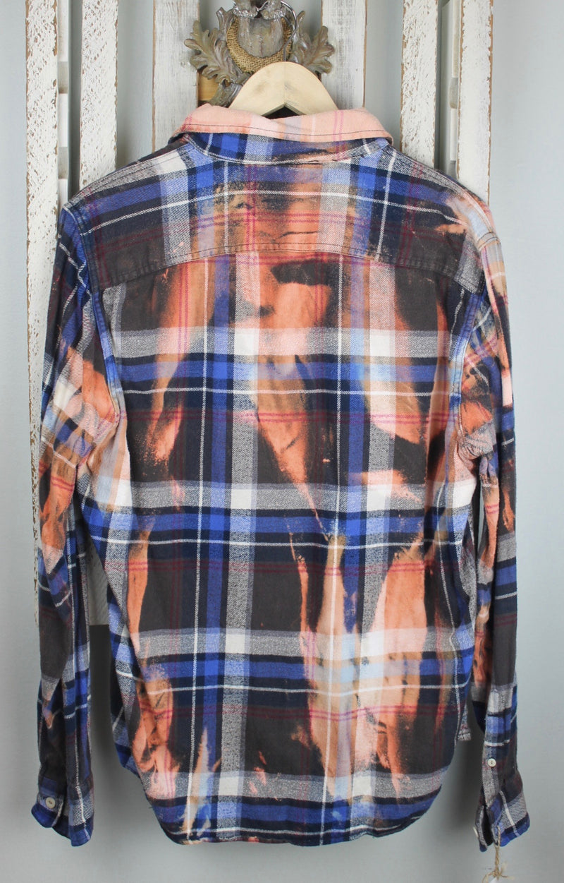 Vintage Blue, Rust, Black and White Flannel with Suede Size Small