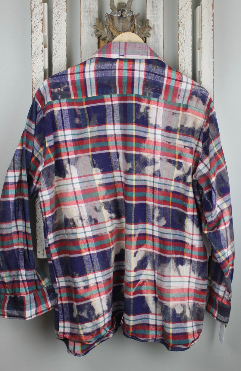 Vintage Navy Blue, Red and White Flannel Size Large