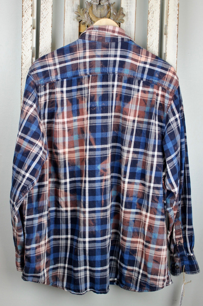Vintage Navy Blue and Dusty Rose Flannel Size XL