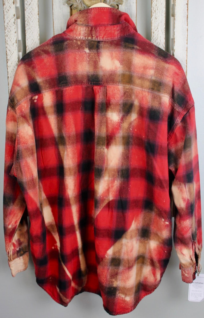 Vintage Red, Black, Gold, and Cream Flannel Size Medium