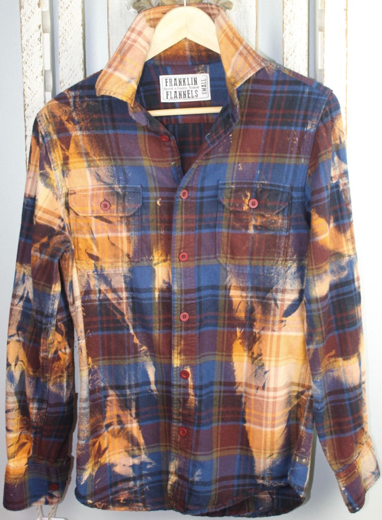 Vintage Rust, Royal Blue, and Gold Flannel Size Small