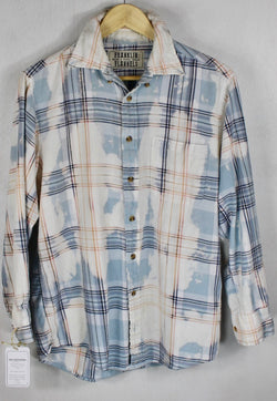 Vintage Pale Blue and White Flannel Size Small