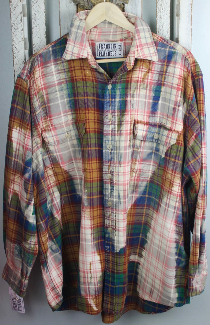 Vintage Gold, Blue, Green, and Cream Flannel Size Extra Large