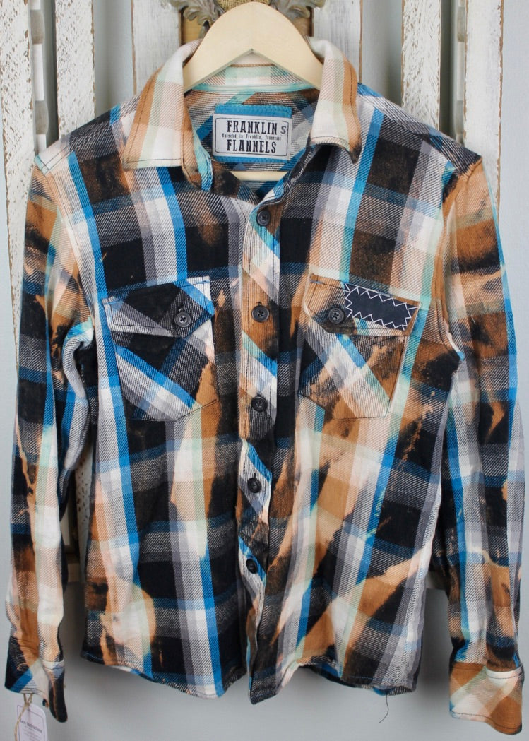Vintage Blue, White, Black, and Gold Flannel With Suede Size Small