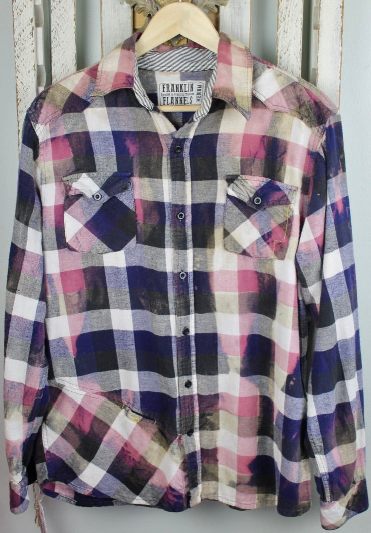 Vintage Purple, Black, White, and Pink Flannel Size Medium