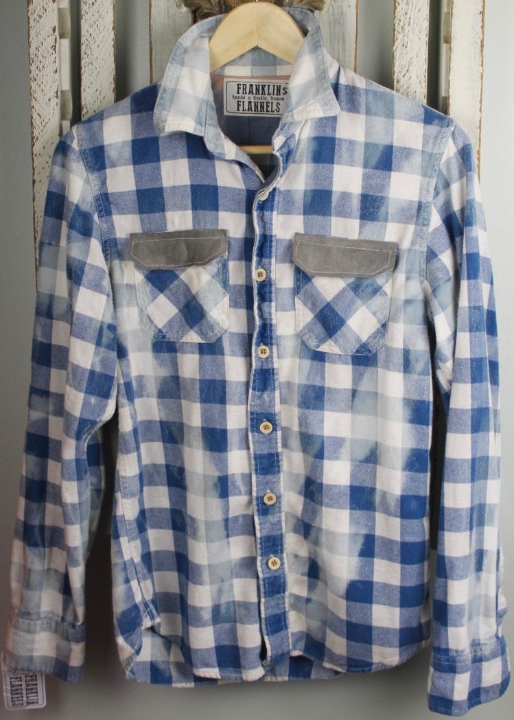 Vintage Blue and White Flannel with Grey Suede Size Small