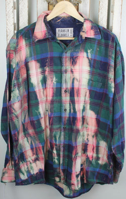 Vintage Green, Royal Blue, and Pink Flannel Size Extra Large
