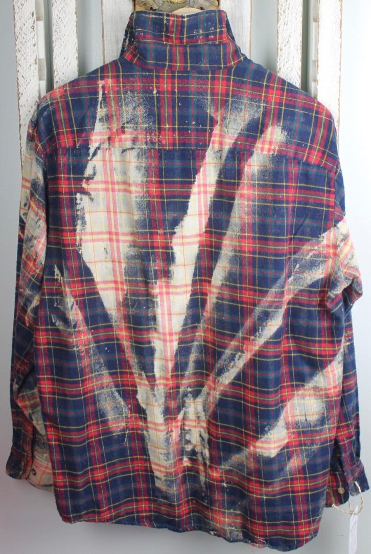 Vintage Blue, Red, Cream Flannel Size Large