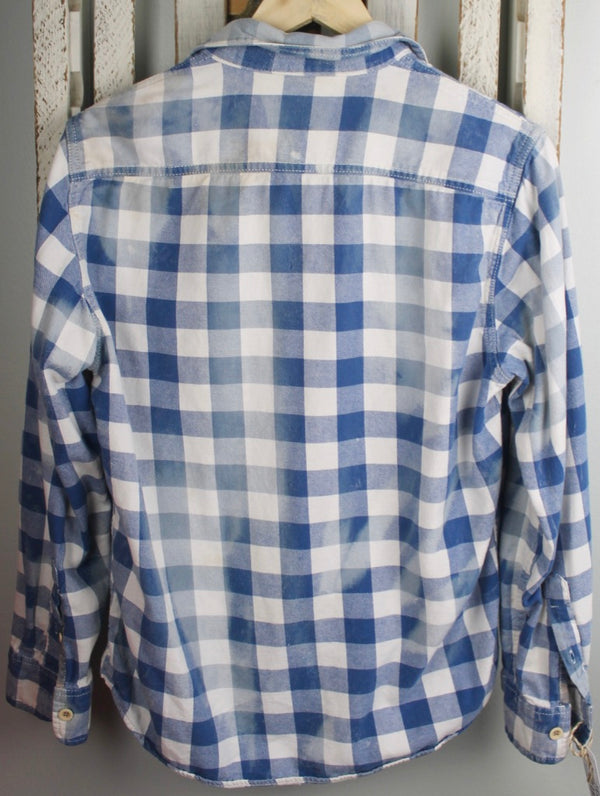 Vintage Blue and White Flannel with Dove Grey Suede Size Small