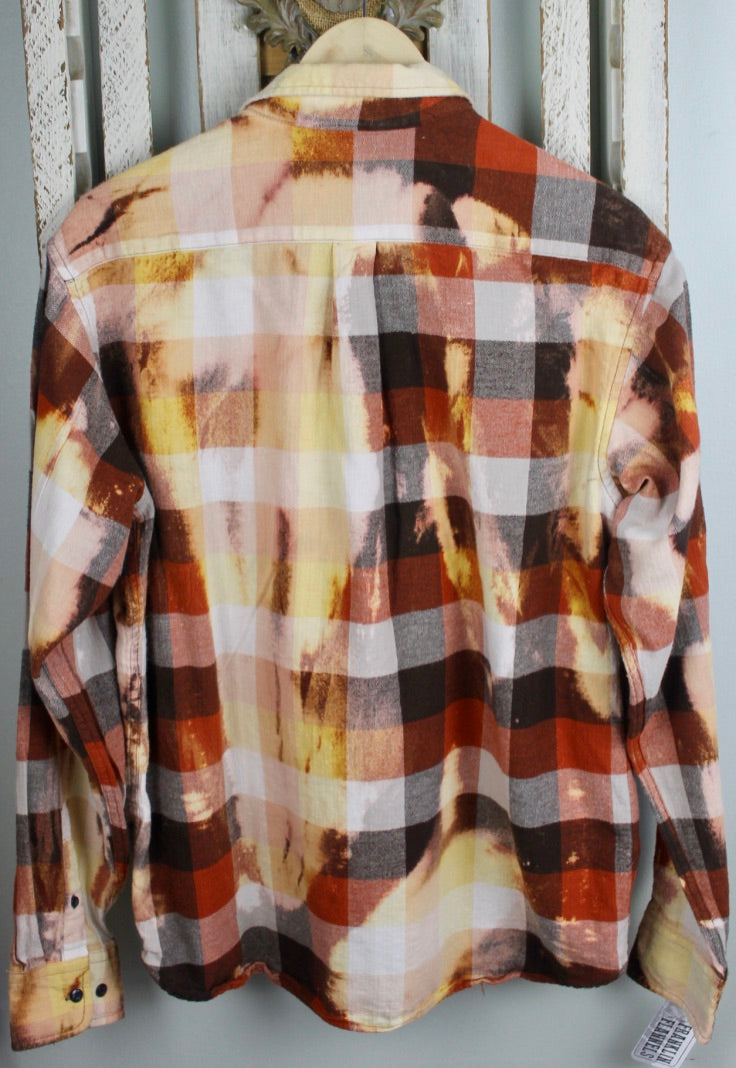 Vintage Orange, Yellow, Cream, and Brown Flannel Size Large