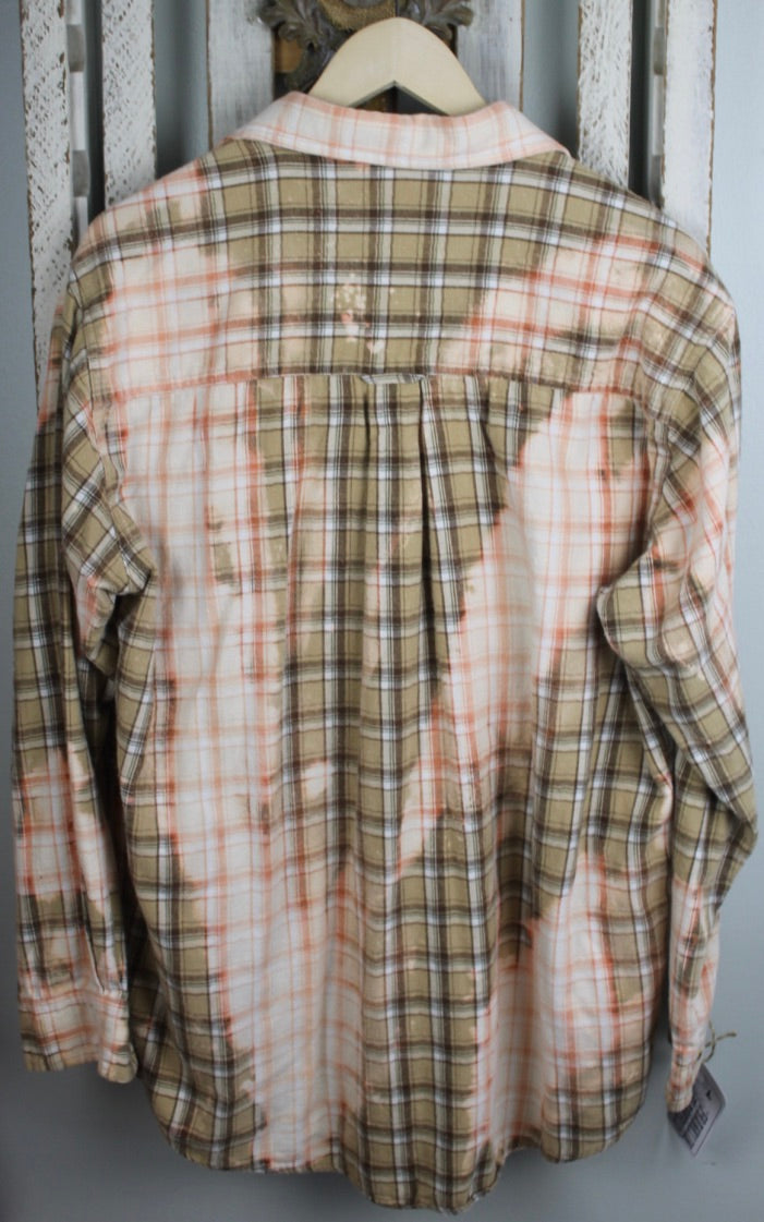 Grunge Beige, Cream, Light Orange Flannel Size Large