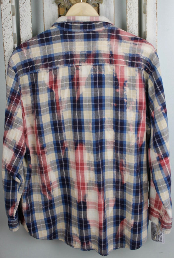 Grunge Salmon, Cream, Dark Blue, and Light Blue Flannel Size Large