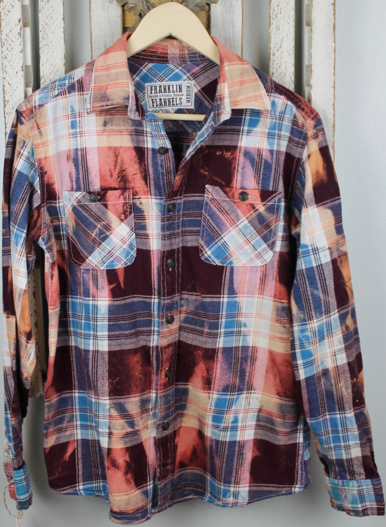 Vintage Burgundy, Light Blue, White, and Gold Flannel Size Medium