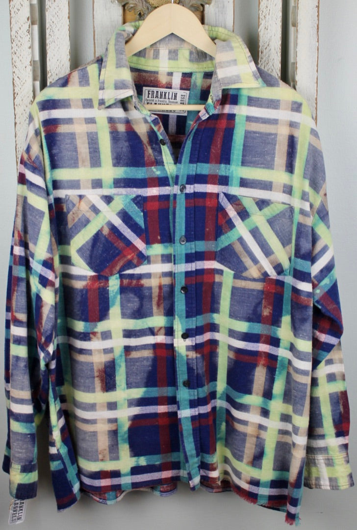 Vintage Royal Blue, Turquoise, Lime Green, and Burgundy Flannel Size Extra Large