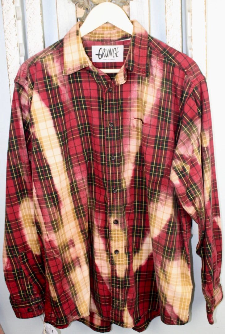 Grunge Red, Black, and Gold Flannel Size Large