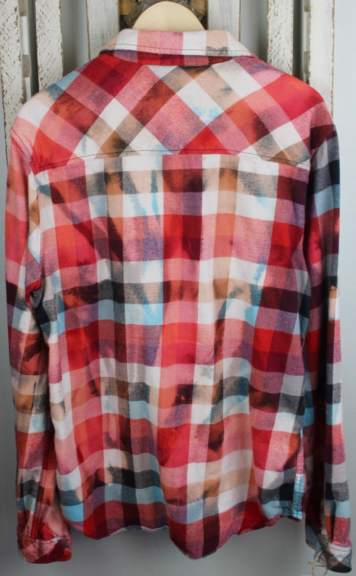 Vintage Red, White, Light Blue Flannel Size Large