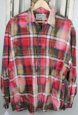 Vintage Red, Brown, White, and Navy Blue Flannel Size Extra Large