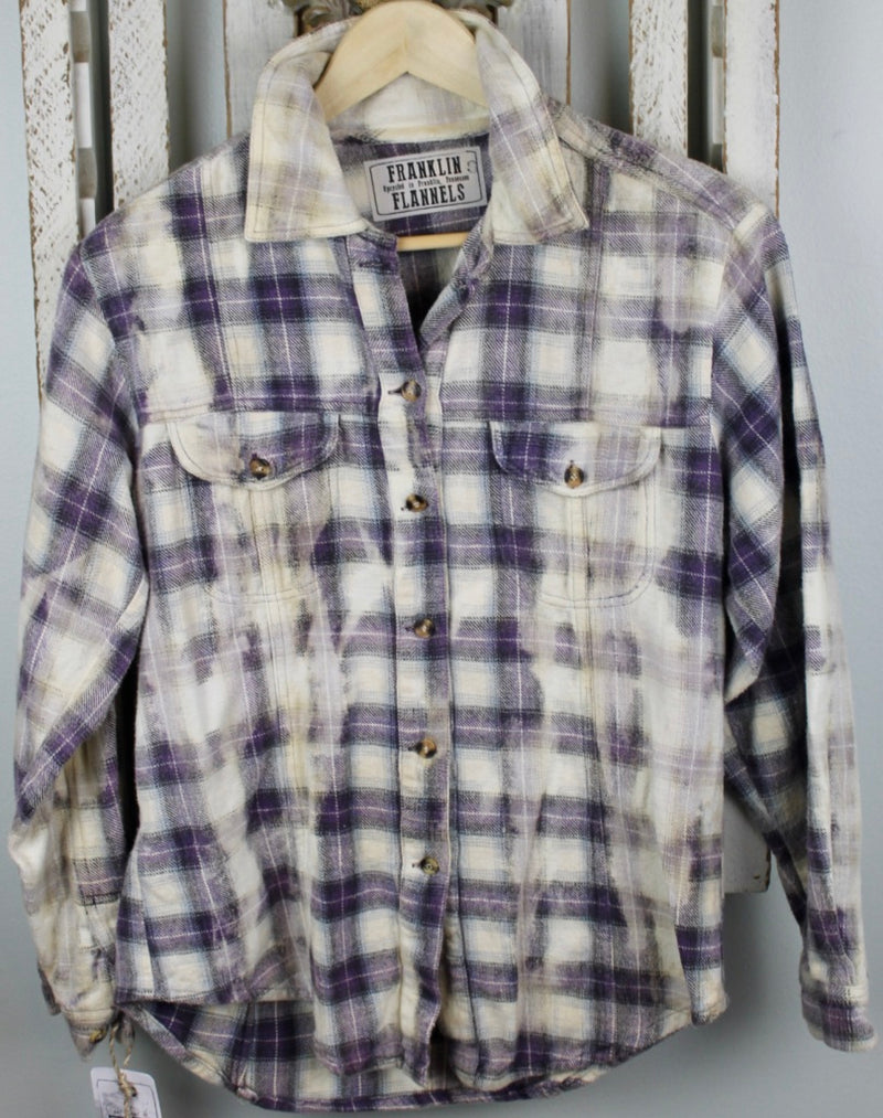 Vintage Purple, Black, and White Flannel Size Small