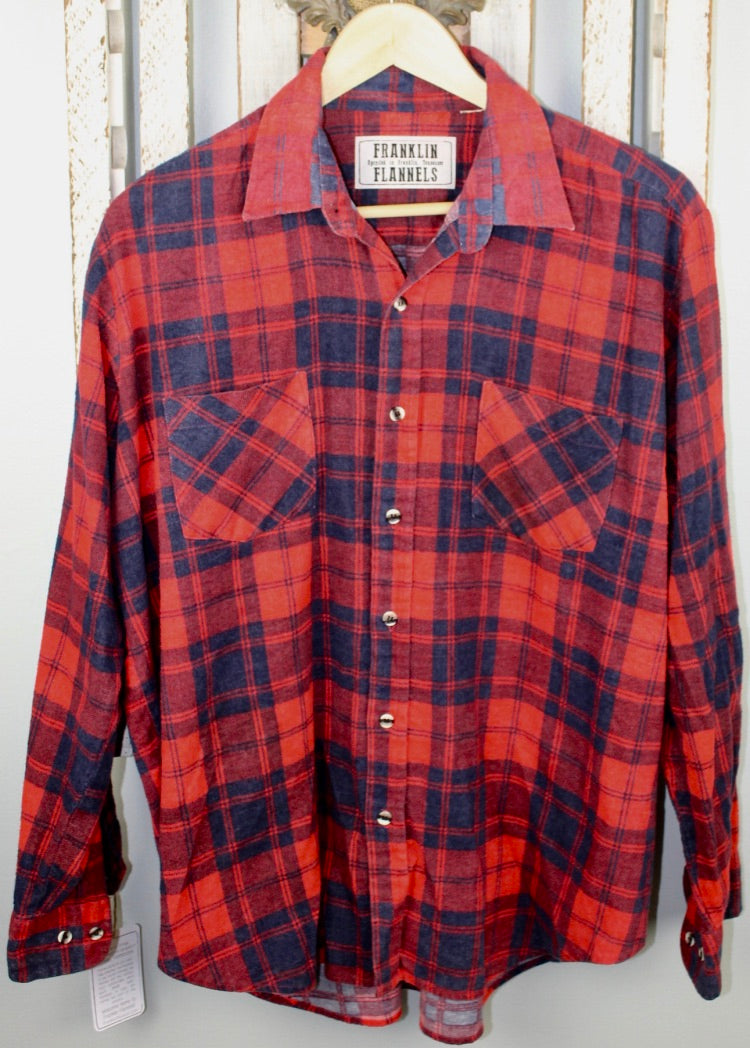 Vintage Red and Navy Blue Flannel Size Medium