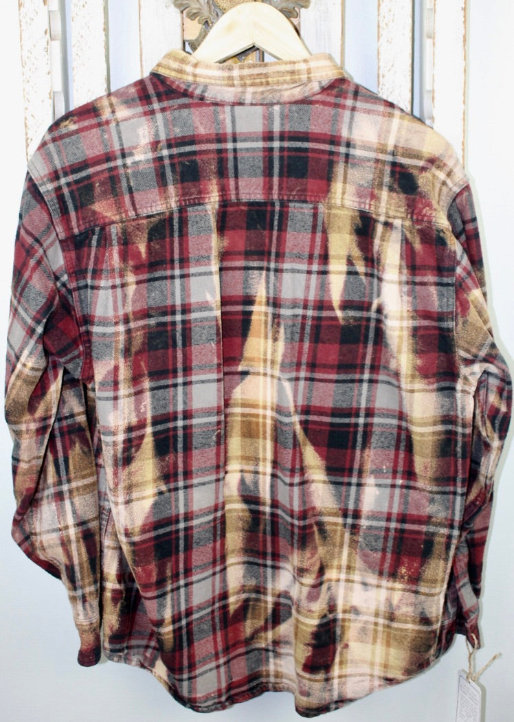 Vintage Red, Black, Gold, and Light Grey Flannel Jacket Size Small