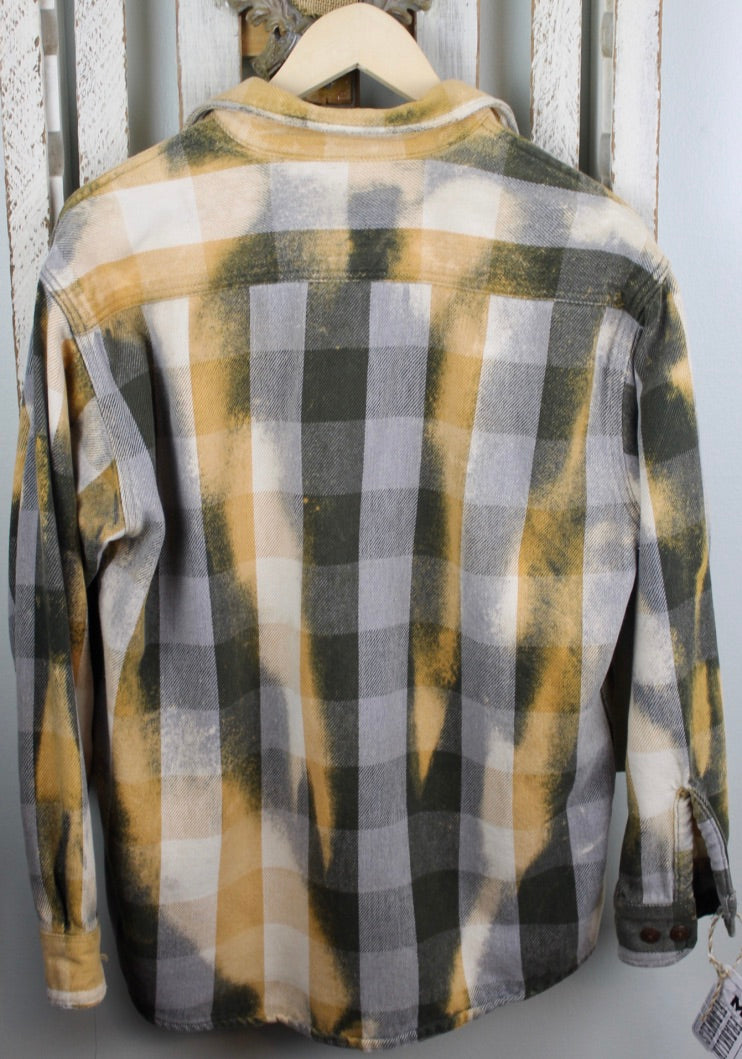 Dark Green, Yellow Gold, and White Flannel Jacket Size Medium