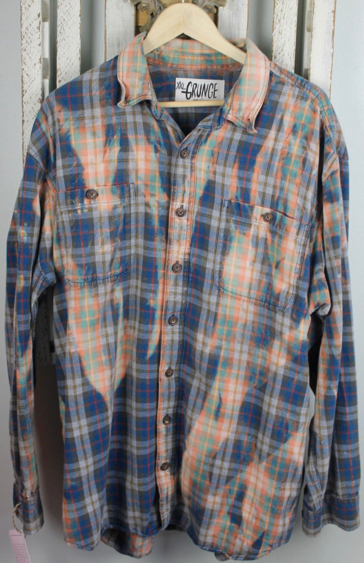 Grunge Blue, Gold, Red, and Green Flannel Size XX-Large