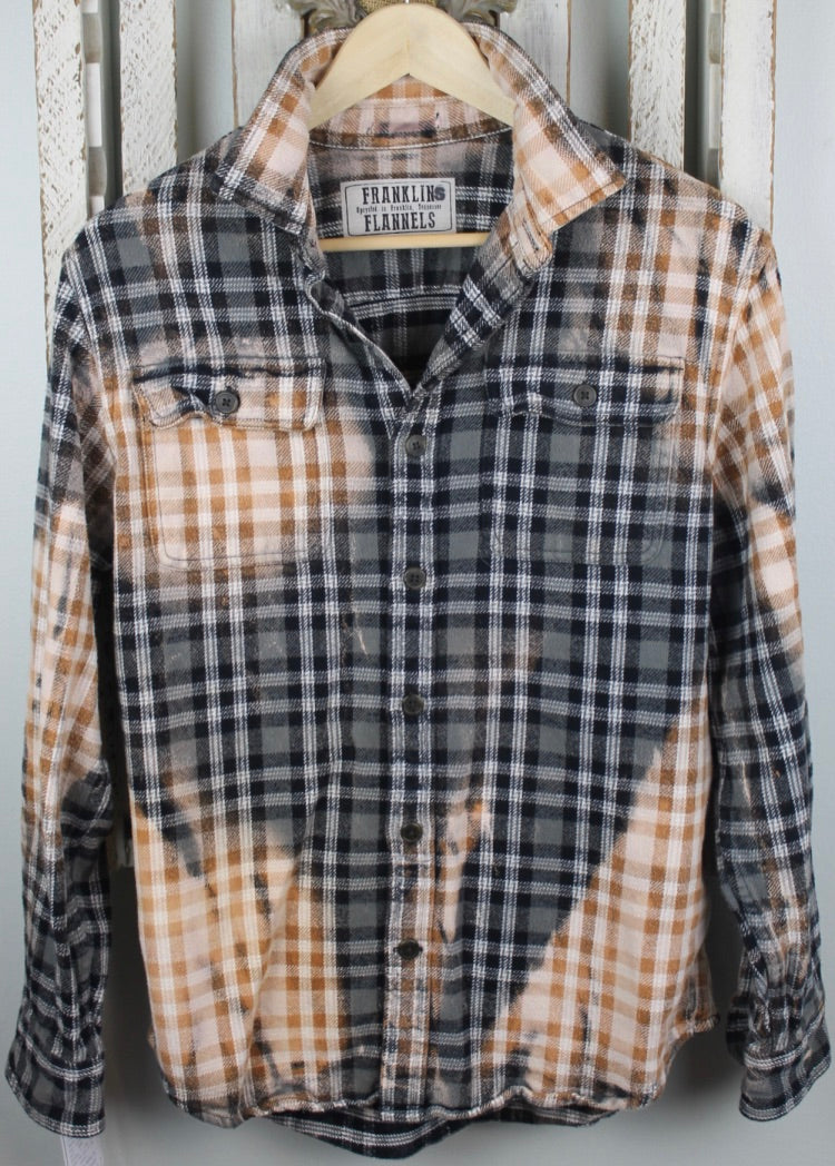 Vintage Grey, Black, Cream, and Gold Flannel Jacket Size Small