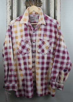 Vintage Burgundy, Gold and Cream Flannel  with Suede Size Large