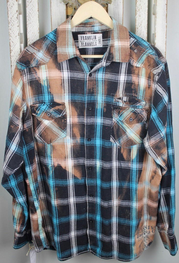 Vintage Turquoise, Black, White, and Beige Flannel Size Large