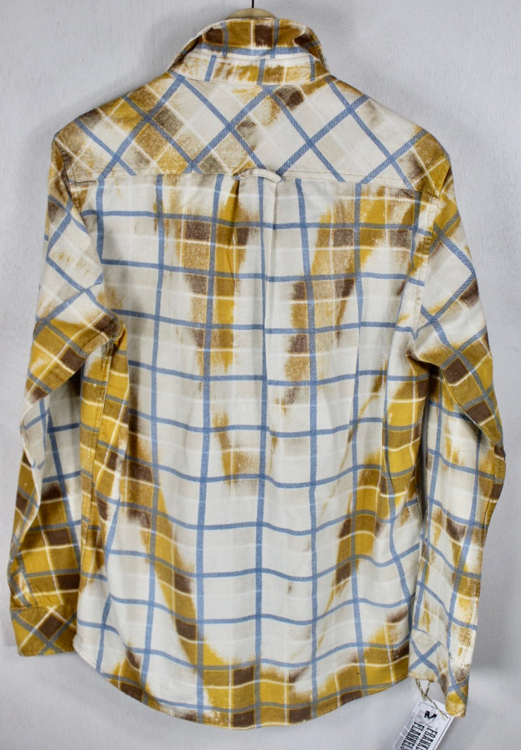 Vintage Gold, White and Sky Blue Flannel Size Medium