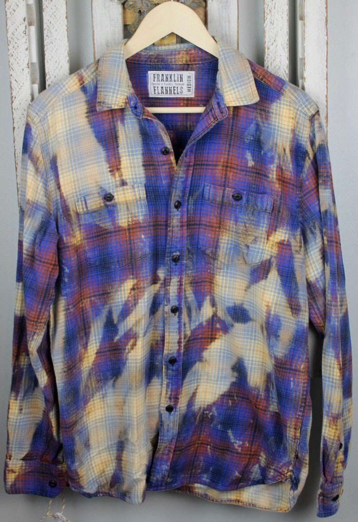 Vintage Blue, Purple, Cream, and Burnt Orange Flannel Size Medium
