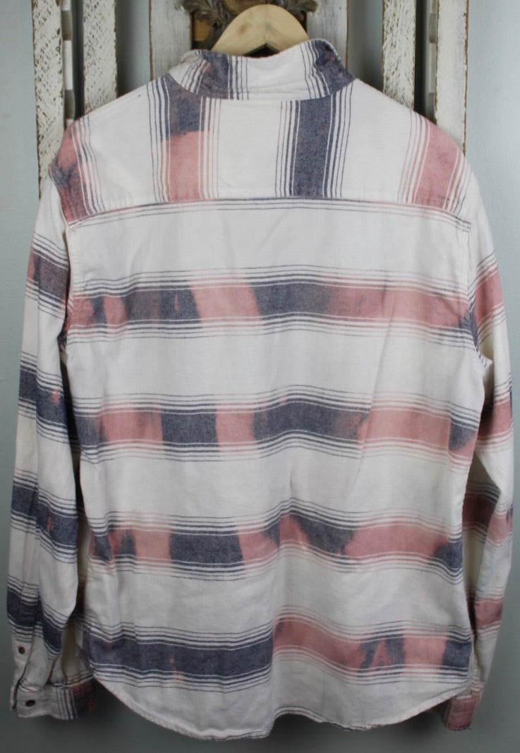 Vintage White, Red, and Navy Blue Flannel Size Large