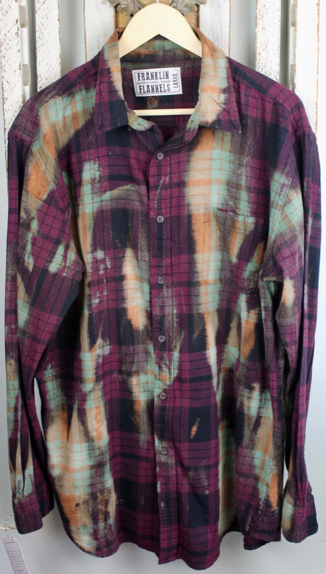 Vintage Eggplant, Black, Gold, Moss Green Flannel Size Large