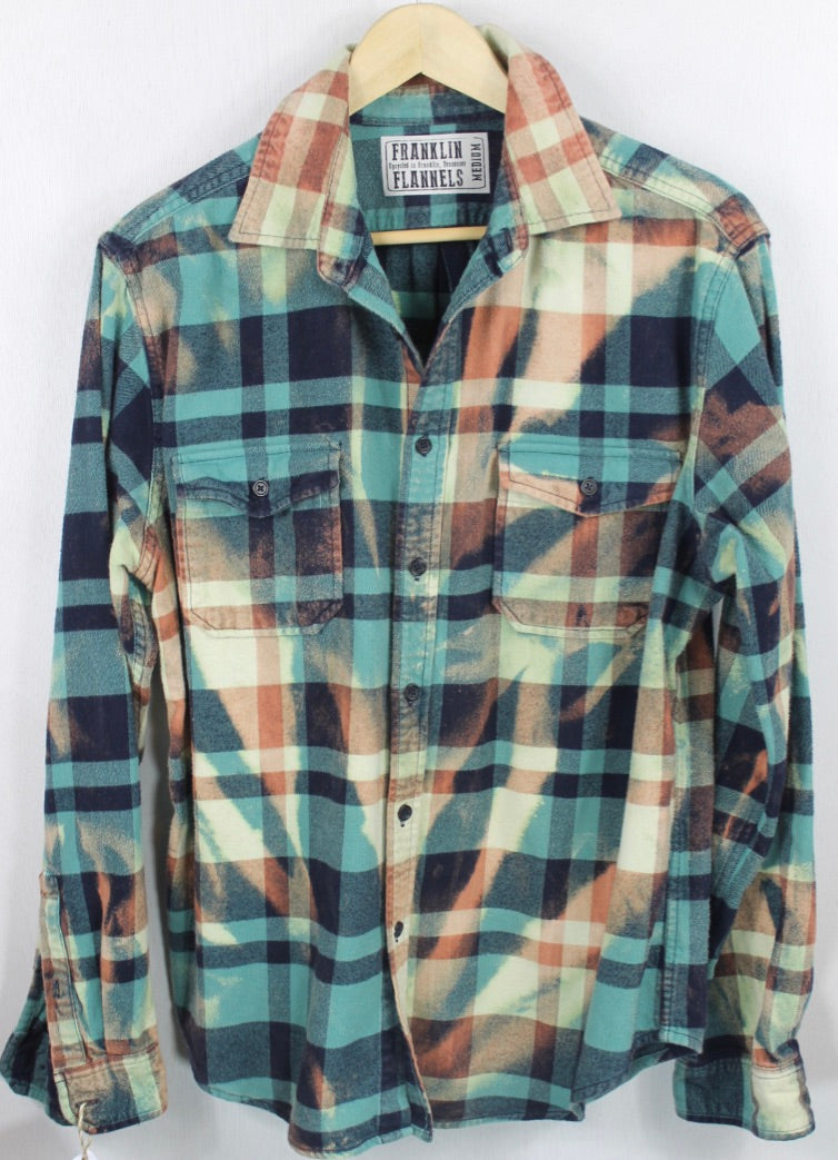 Vitnage Teal, Navy Blue and Light Green Flannel Size Medium